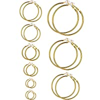 ‏‪Sumind Earrings Clip On Earrings Without Piercing Earrings Set for Women and Girls sizes(Gold Color)‬‏