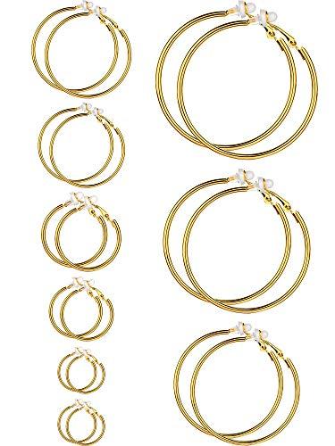 Ohrringe Clip On Ohrringe Nicht Piercing Ohrringe Set für Damen und Mädchen, Verschiedene Größen (Gold Farbe, 9 Paare)