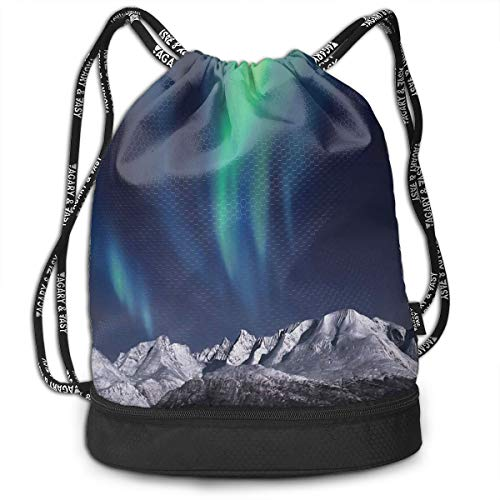 LULABE Printed Drawstring Backpacks Bags,Aurora Borealis Aurora Over Fjords Mountain at Night Norway Solar Image Artwork,Adjustable String Closure