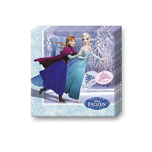 Procos 20 Servietten * Frozen Ice Skating * für Kindergeburtstag oder Motto-Party // Kinder Geburtstag Party Napkins Motto Disney ELSA Anna Olaf Schlittschuhe die Eiskönigin