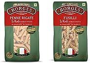 Borges Whole Wheat Penne Pasta, 500g and Borges Whole Wheat Fusilli Pasta, 500g