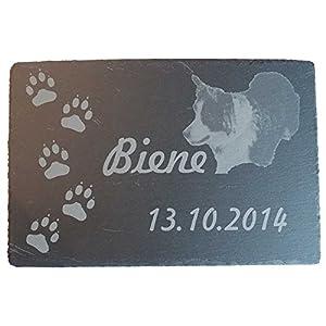 HC-Lasergravur Gedenktafel Grabtafel aus Schiefer Gestaltung frei wählbar, mit Fotos oder Motiven,ein Unikat für Ihre Verwendung
