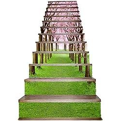 FLFK 3D Kirschbäume Selbstklebend Treppe Aufsteher Wandmalerei Vinyl Abziehbild Tapezieren Aufkleber 39.3Zoll x7.08Zoll x 13stücke