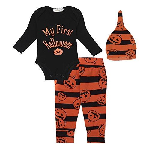 iiniim Neugeborenes Baby Mädchen/Jungen Bekleidungsset Halloween Kürbis Kostüm Strampler+ Hose + Hut Baby Outfits Set Gr.50-86 Schwarz&Orange 50-56/0-3 Monate (Neugeborenen Strampelanzug Halloween Kostüme)