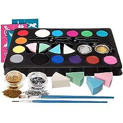 HEYSAMO Kinderschminke Set Face Paint Kinder Schminkset Ideal für Partys Mädchen, Schablonen, Gesichtsfarben, Halloween & Fasching, Professionellemit wasserlösliche Schminkfarbe