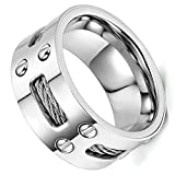 Flongo Edelstahl Ring Bandring Silber Screw Schrauben Drahtseil Charm Charme Engagement Verlobung Hochzeit Wedding Eheringe Polished Herren, 71mm
