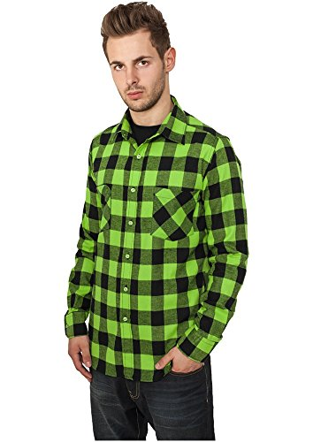 Urban Classics Bekleidung Checked Flanell Shirt  Uomo Black - blk/forest