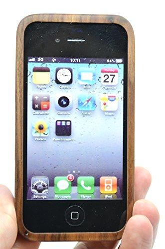 RoseFlower® Coque iPhone 4S / iPhone 4 en Bois Véritable - Lézard noyer - Fabriqué à la main en Bois / Bambou Naturel Housse / Étui avec Gratuits Film de Protecteur Écran pour votre Smartphone Compassnoyer