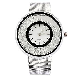 MJartoria Damen Armbanduhr Quarz Uhr Modeschmuck Milanaiseband Mode Design mit Strass Silber Farbe