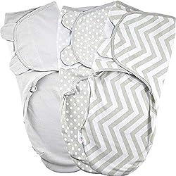 Manta Envolvente para Bebé y Recien Nacido 1.0 TOG - 3x Saco de Dormir Manta de Arrullo Cobija 100% Algodón 220GSM - Gris 4-6 Meses