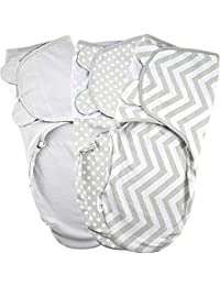 Baby Swaddle Wrap - Pack of 3 Swaddle Blankets - 100% Cotton - Grey - 0-3 Months