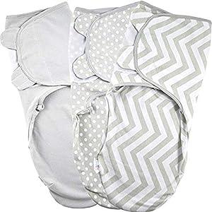 Manta Envolvente para Bebé y Recien Nacido – 3x Saco de Dormir Manta de Arrullo Cobija 100% Algodón 220GSM – Gris 0-3 Meses
