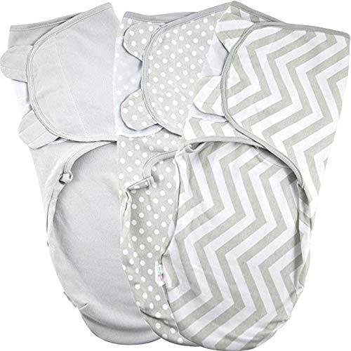 Manta Envolvente para Bebé y Recien Nacido 1.0 TOG – 3x Saco de Dormir Manta de Arrullo Cobija 100% Algodón 220GSM – Gris 0-3 Meses