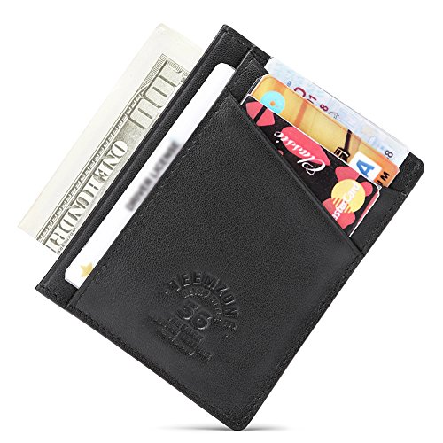 7d3f12b0c Teemzone Mini Tarjetero Cartera RFID Delgado de Piel (Negro K374)
