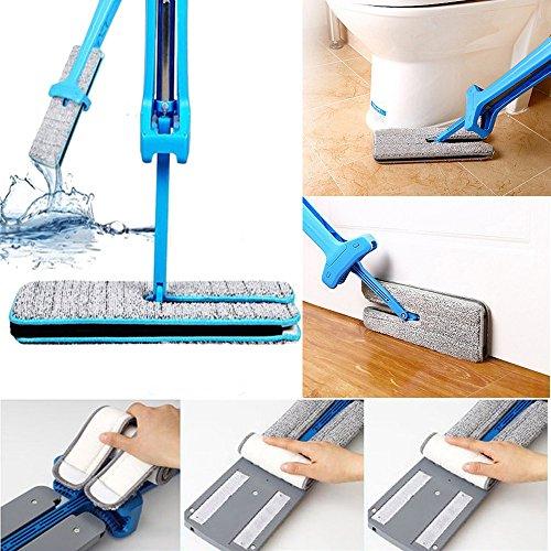 Mocio, beautytop doppia faccia lavaggio a mano non piatto mop attrezzi per la pulizia della casa di pattumiera (blu)