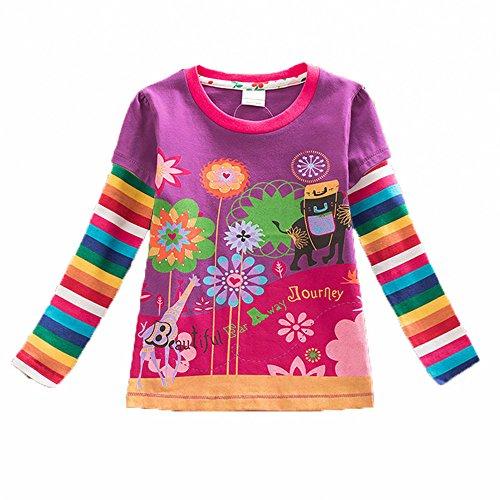 VIKITA Mädchen Langarm Baumwolle T-Shirt Top 1-6 Jahre L328Lila 3T (Baumwoll-t-shirt Und 1)