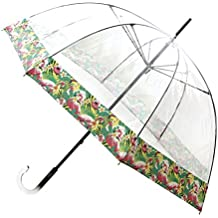 Paraguas VOGUE transparente adornado con dos franjas estampadas. Puedes elegir entre las frutas tropicales o