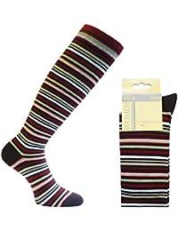 3 Paar hochwertige Kniestrümpfe aus feiner Baumwolle mit Karo Muster oder geringelt