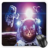 BGLKCS Space Cat Mauspads, Astronauts in Nebula Galaxy with Eclipse in Saturn Planets Image, Standard Size Rectangle Non-Slip Rubber Mousepad, Dark Blue White and Purple