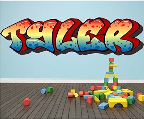 X-LARGE Sticker Bay Personalised Graffiti Wall Sticker Any Name Full Colour Art