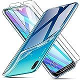 AROYI Coque Huawei Y7 2019 Transparente + 2 X écran Protecteur Souple Silicone Étui Protection Bumper Housse Clair Doux TPU Gel Cover pour Huawei Y7 2019