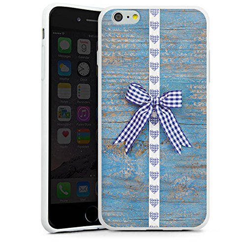 Apple iPhone X Silikon Hülle Case Schutzhülle Holz Look Schleife Herz Oktoberfest Silikon Case weiß