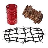 Sharplace Elastische Gepäcknetz + Mini Öltank/Benzin Tank+ Holzkisten Satz für 1:10 Rc Rock Crawler