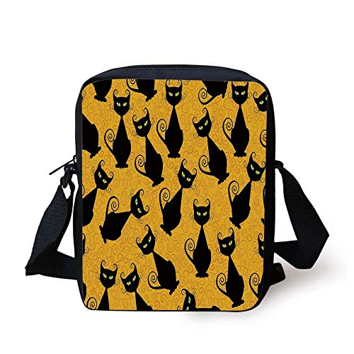 ,Black Cat Pattern on Orange Background Halloween Witch Pet Graphic Decorative,Black Orange Print Kids Crossbody Messenger Bag Purse ()