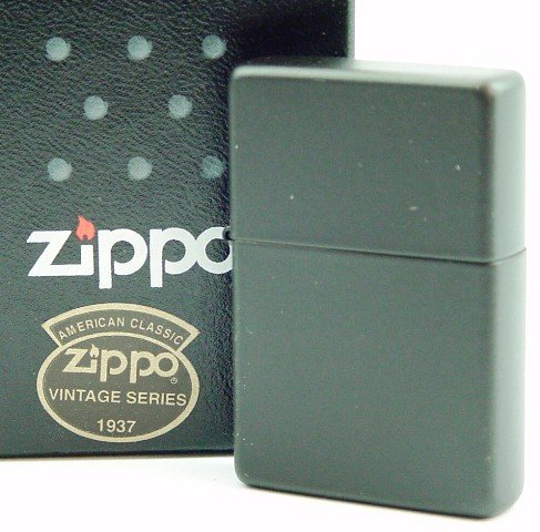 Zippo 2.001.421 Feuerzeug Vintage 1937, matt, schwarz w/o Slashes (Zippo Schwarz Matt)