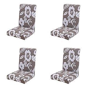 JUNGEN Hellgrau Stuhlhussen 4er Set Weißes Blumenmuster Elastisch Stuhlüberzug Dekoration für Schlafzimmer Esszimmer Hotel Wohnaccessoires