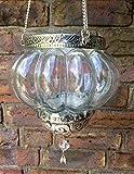 Orientalisches Windlicht zum Hängen / Teelichthalter / Glaslaterne / Glaswindlicht / zum aufhängen in Bäumen/ Gartenwindlicht / Terrassenwindlicht
