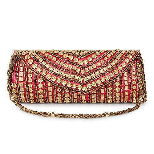 """Funkiaâ""""¢ Women\'s handcrafted, ethnic, designer, golden bead work silk Party Clutch - pink"""