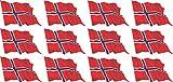 Mini Aufkleber Set - Pack wehend - 50x31mm - Sticker - Norwegen - Flagge - Banner - Standarte fürs Auto, Büro, zu Hause und die Schule - 12 Stück