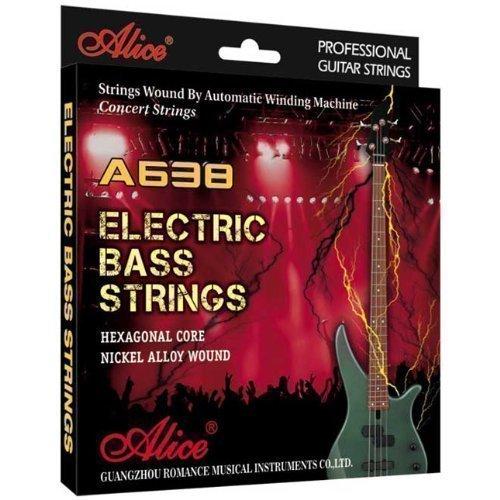 Alice - E-Bass-Saiten Medium - 4er Saiten für E-Bass Gitarre - .45-105 (Leuchtende Bass-saiten)