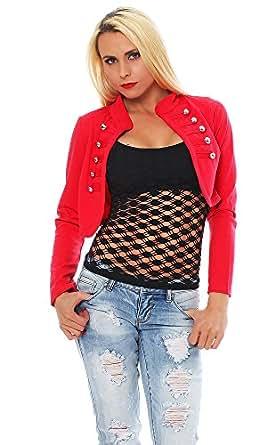 10455 Fashion4Young Damen Bolero Kurzjacke Blazer Jäckchen Jacke Army-Look 8 Farben Gr. 34/36 (34/36, Coral)