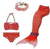 BESTYLING 4PCS Ragazze Sirena Coda Costume da bagno Principessa Bikini con Ghirlanda (120, rosa rossa)