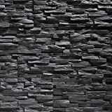 Pannello decorativo per parete in spugna EPS, Finta Pietra Ricostruita, ultraleggero, mod. Benevento, effetto piastrelle (antracite)