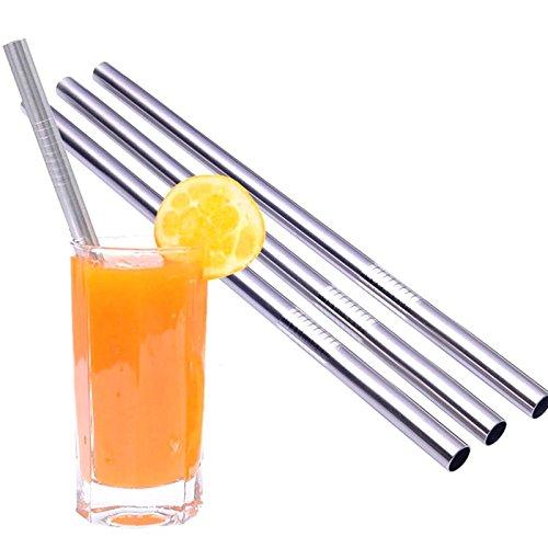 Kobert-Goods Edelstahl Strohhalme Trinkhalme für Smoothies Long-Drinks Party-Cocktails Strohhalme gerade 5 Stück