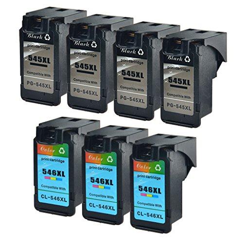 nineleaf 7unidades PG-545X L y CL-546X L remanufacturados para Canon 545x l 546X L PG-545XL CL-546XL (4negro + 3Color) cartuchos de tinta compatibles para PIXMA MG2555mg2555s MG2900impresora