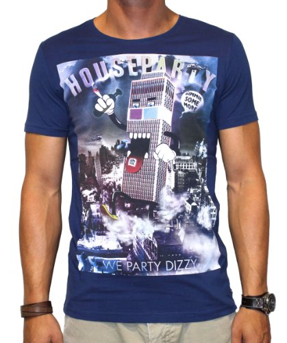 40by1, Herren T-Shirt, House Party, Fashion Tee, Navy, 40/1-GAS-12-014, GR XXL