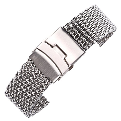 22mm shinning pulsera de malla para el acero inoxidable de alta calidad reloj inteligente cadena de metal de plata correa de reloj sólido