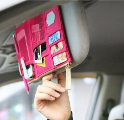 Preisvergleich Produktbild tankerstreet Multifunktionale Auto Sonnenblende Clip Auto Reise Aufbewahrungstasche Sun Visor Organizer Halter Pink