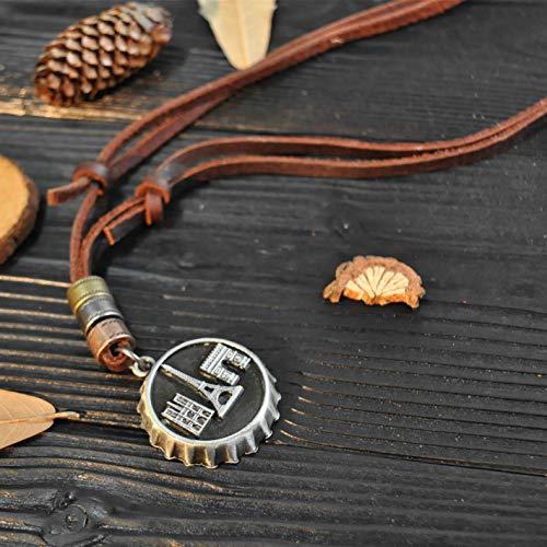 Yean Bottle Cap Anhänger Halskette Eiffelturm Vintage Echtes Leder Halsketten für Männer und Frauen (Silber) (Bottle Halskette Cap)
