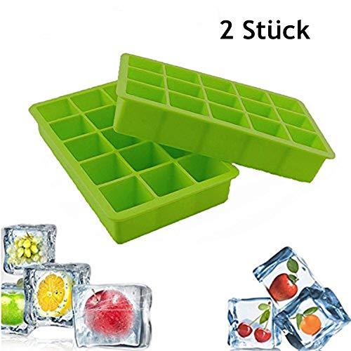 Nifogo Eiswürfelform Silikon, Eiswürfelbehälter, 2 Stücke eiswürfelmaschine, Ice Cube Tray, 100% BPA frei, 15-Fach Große Eiswürfel, Eiswürfelschalen Einfach zu Bedienen (Grün)