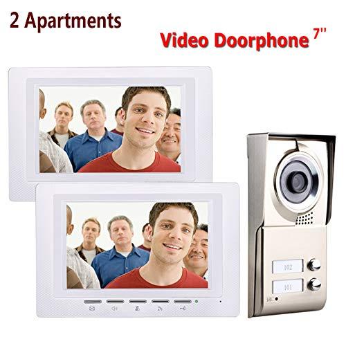 Videocitofono, 2 Appartamenti Video Campanello Citofono Impermeabile TFT da 7 pollici, 2 Monitor + Videocamera IR-CUT HD 1000TVL con 2 pulsanti