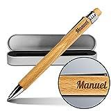 Kugelschreiber mit Namen Manuel - Gravierter Holz-Kugelschreiber inkl. Metall-Geschenkdose