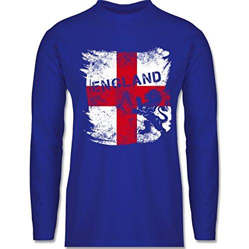 Shirtracer Fußball-WM 2018 - Russland - Englandflagge & Löwe Vintage - Herren Langarmshirt Royalblau