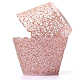 KING DO WAY 12 Pcs Pirottini Carta per Tortine Muffin Cupcake - Tazze Antiaderenti Stampini - Perfetto per Gelato Snack Congelati Dolcet Avvolgi Muffin Decorativi Cupcake Wrapper Pink