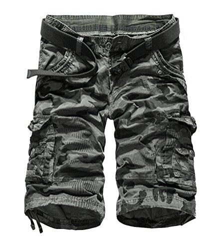 SMITHROAD Herren Cargo Shorts 3/4 Länge mit Camouflage Druck 6-Pocket-Style Kurze Hose Sommer Sporthose 5 Farben W29-W38 Grau-Tarnfarben