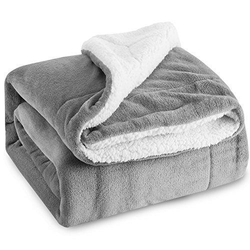 Bedsure Sherpa Throw Blanket Sil...